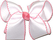 Large White and Shell Pink Moonstitch Bow