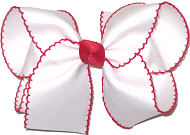 Large White and Red Moonstitch Bow