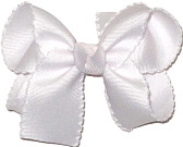 Medium White and White Moonstitch Bow