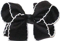 Medium Black and White Double Layer Overlay Bow