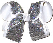 Silver Scale over White Large Double Layer Bow