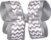 Gray and White Large Double Layer Bow