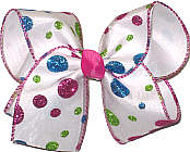 Shocking Pink Blue and Green Dot Chiffon over White Large Double Layer Bow