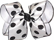 Black Glitter Dot Chiffon over White Large Double Layer Bow