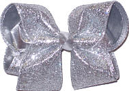 Large Three Layer Overlay (Silver Lame', Gray Grosgrain, Silver Heavy Glitter Large Double Layer Bow
