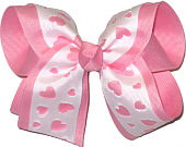 Pink and White Large Double Layer Bow