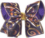 Purple and Metallic Gold Swirls Large Double Layer Bow