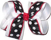 Navy with White Dots and Red Trim over White Large Double Layer Bow
