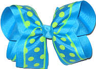 Turquoise with Green Dots and Trim over Turquoise Large Double Layer Bow