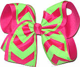 Neon Lime and Shocking Pink over Shocking Pink MEGA Extra Large Double Layer Bow
