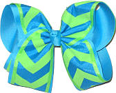 Neon Lime and Turquoise over Turquoise MEGA Extra Large Double Layer Bow