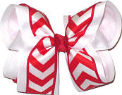 White and Red Large Double Layer Bow