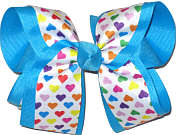 Multicolor Hearts on White over Mystic Blue Large Double Layer Bow