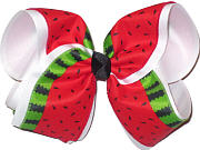 Watermelon Print over White MEGA Extra Large Double Layer Bow