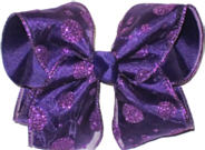 Purple Glitter Dot Chiffon over Purple Large Double Layer Bow