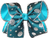 Silver Glitter Dot Teal Chiffon over Turquoise Large Double Layer Bow