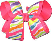 Rainbow Zebra over Tutti Fruiti Large Double Layer Bow