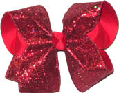 Red Heavy Glitter over Red Large Double Layer Bow