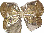 Platimun Heavy Glitter over Platinum Ribbed Mesh Large Double Layer Bow