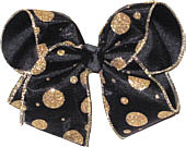 Gold Glitter Dot Black Chiffon over Black Large Double Layer Bow