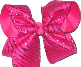 Hot Pink Glitter Zebra Stripe Chiffon over Hot Pink Large Double Layer Bow