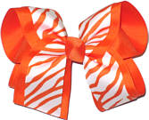 Orange and White Zebra over Orange Large Double Layer Bow