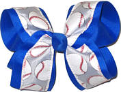 Softball on Millenium Gray over Electric Blue Large Double Layer Bow