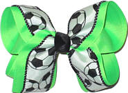 Large Neon Green Soccer Large Double Layer Bow