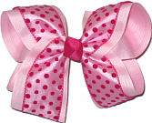 Pink with Shocking Pink Dots and Trim over Pink Large Double Layer Bow