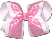 Light Pink with Pink Dots over White Large Double Layer Bow