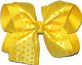 Baby Maize with Maize Dots over Maize Large Double Layer Bow