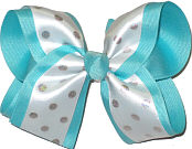 White with Silver Dots over Blue Large Double Layer Bow