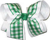 Emerald Green and White over White Large Double Layer Bow
