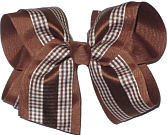 Brown and White over Brown Large Double Layer Bow