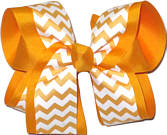 Yellow Gold and White Large Double Layer Bow