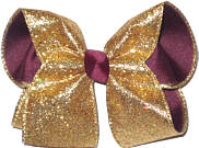 Gold Heavy Glitter over Burgundy Large Double Layer Bow
