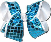 Turquoise Square Sequin over White Large Double Layer Bow