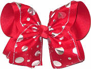 Red with Silver Lame' Dots MEGA Extra Large Double Layer Bow