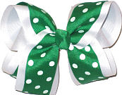 Emerald Green with White Dots over White Large Double Layer Bow