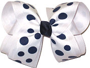 White with Navy Coin Dots over White Large Double Layer Bow