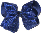 Light Navy heavy Glitter over Navy Large Double Layer Bow