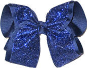 Light Navy Glitter Over Light Navy Grograin MEGA Extra Large Double Layer Bow
