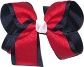 Navy and Red with White Knot Large Double Layer Bow