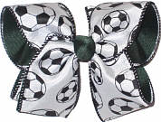 Soccer Ball Ribbon Over Evergreen MEGA Extra Large Double Layer Bow