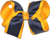 Yellow Gold and Navy Large Double Layer Bow