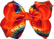 Tie Dye over Orange Large Double Layer Bow