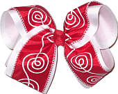 Red with White Swirl over White MEGA Extra Large Double Layer Bow