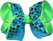 Turquoise Square Sequin over Neon Green Large Double Layer Bow
