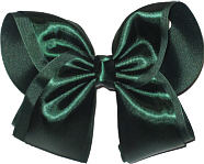 Evergreen Satin Over Evergreen Gosgrain MEGA Extra Large Double Layer Bow