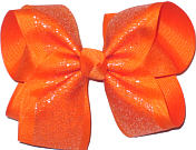 Orange Glitter Chiffon over Orange Large Double Layer Bow